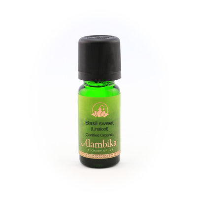 Alambika - Etherische olie: Basil Sweet / Zoete Basilicum Biologisch Gecertificeerd (tht: 03-2022)