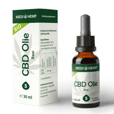 Medihemp - Biologische CBD Olie Raw 5% 30 ml