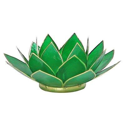 Lotus Sfeerlicht: Groen 4e Chakra Goudrand