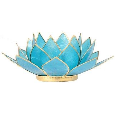 Lotus Sfeerlicht: Blauw 5e Chakra Goudrand
