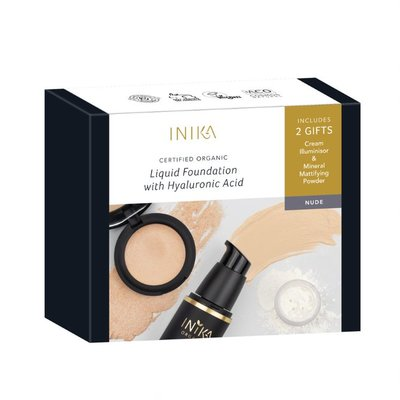 INIKA - Liquid Foundation Set: Fresh & Flawless Kit | 2 Free Gifts
