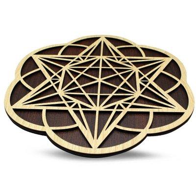 Houten Dubbel Laags Crystal Grid: Seed of Life & Metatron