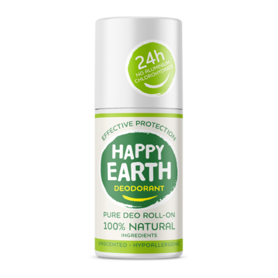 Happy Earth - Pure Deo Roll-On: Unscented Hypoallergenic