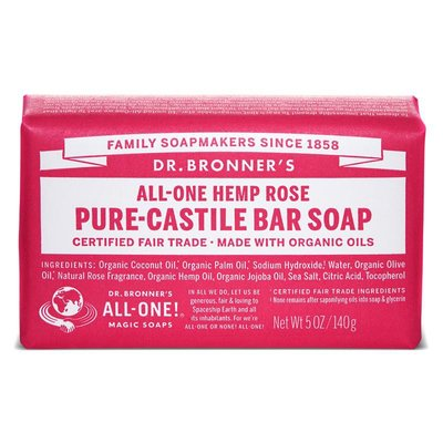 Dr. Bronner's - Pure Castile Soap Bar: Rose