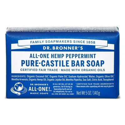 Dr. Bronner's - Pure Castile Soap Bar: Peppermint
