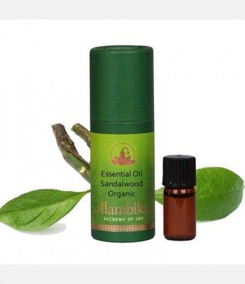 Alambika - Etherische olie: Sandalwood / Sandelhout Biologisch Gecertificeerd 1 ml  (tht: 07-2020)