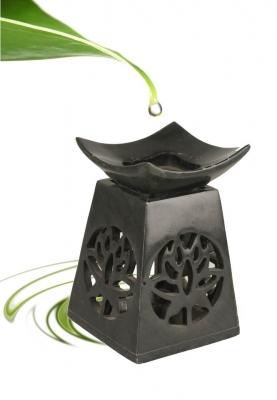 Olie Verdamper: Lotus Zeepsteen Zwart
