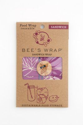 "Bee's Wrap - Sandwich 33 x 33 ""Mimi's Purple"" (Paar/Creme)"