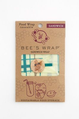 "Bee's Wrap - Sandwich 33 x 33 ""Everybody's Teal"" (Creme/Groen)"