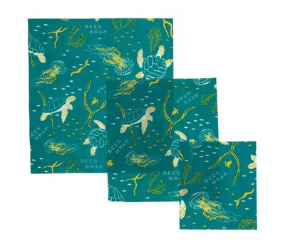 "Bee's Wrap - 3-Pack Assortiment ""Ocean"" Small, Medium & Large"