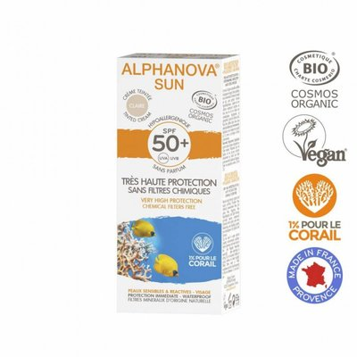 Alphanova - SPF 50+ Face Tinted Cream LIGHT Clair | Allergische, Gevoelige Huid