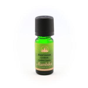 Biologische zoete basilicum etherische olie