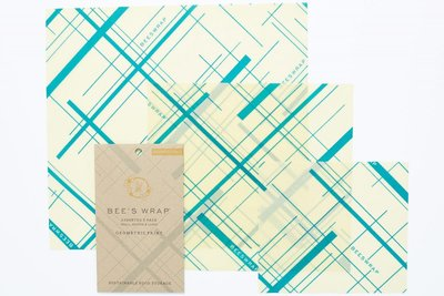 """Bee's Wrap - 3-Pack Assortiment """"Everybody's Teal"""" Small, Medium & Large"""